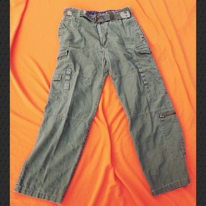 Bugle Boy Military Cargo Pants Olive Green 36×32